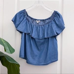 GB Chambray Ruffle Off Shoulder Top